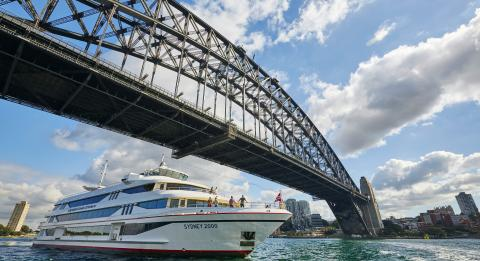 Cruise passing under the Sydney Harbour Bridge