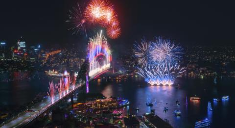 Spectacular midnight fireworks display across Sydney Harbour at to celebrate the start of the new year