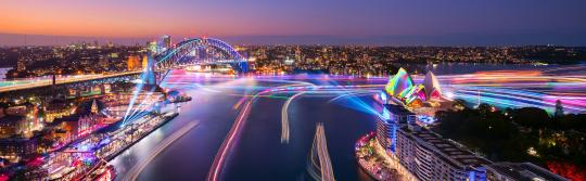 Views of Harbour Lights installations on marine vessels moving across Sydney Harbour, Vivid Sydney