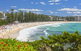 曼利海灘(Manly Beach)斯特納南端(South Steyne)景色