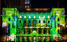 May Gibbs' Snugglepot and Cuddlepie artwork projected on Customs House, Vivid Sydney 2018